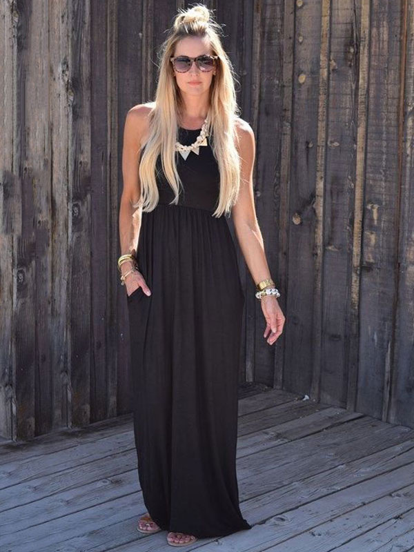Women Maxi Dress Black Round Neck Sleeveless Casual Dress (Women\\'s Clothing Maxi Dresses) photo