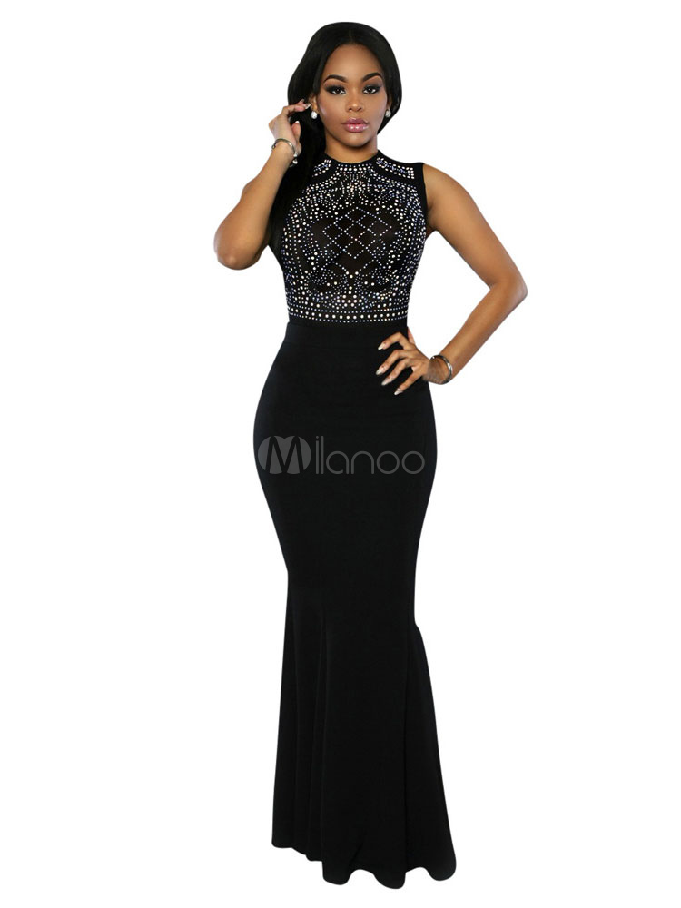 Maxi Black Dresses Mermaid Sleeveless Rhinestones Beaded Women's Long Dress (Women\\'s Clothing Maxi Dresses) photo