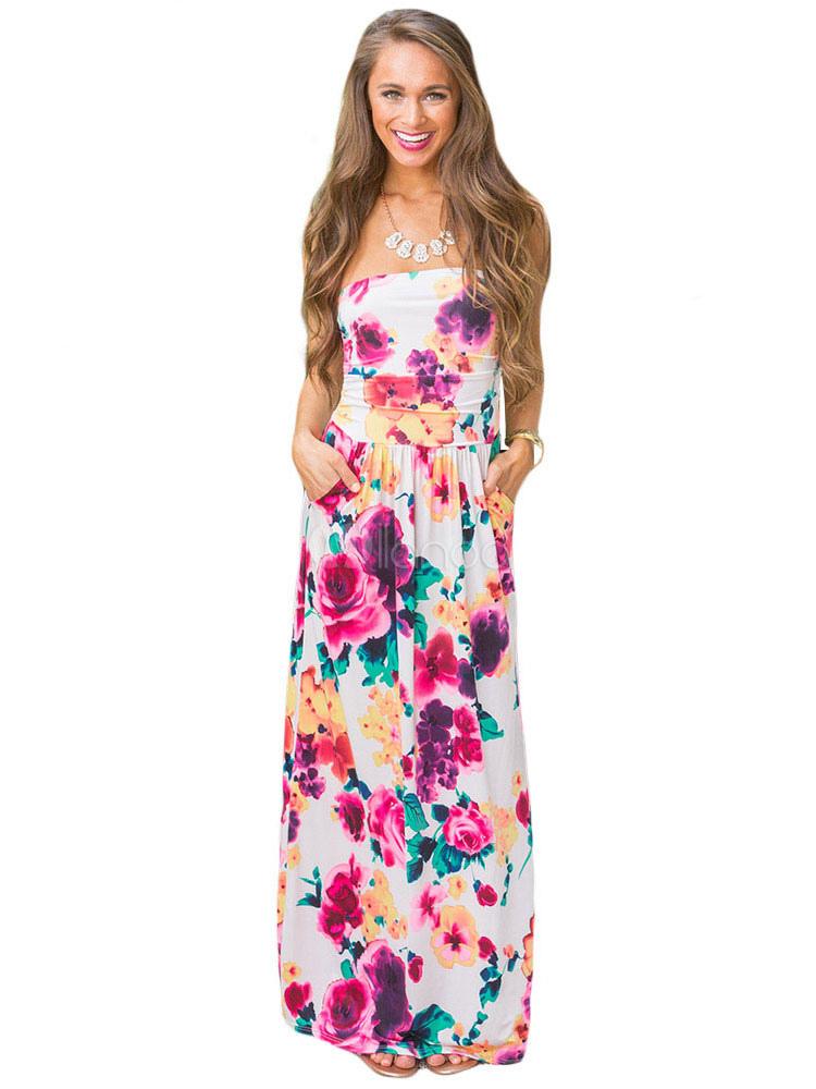 Maxi White Dress Floral Print Strapless Women's Summer Long Dress (Women\\'s Clothing Maxi Dresses) photo