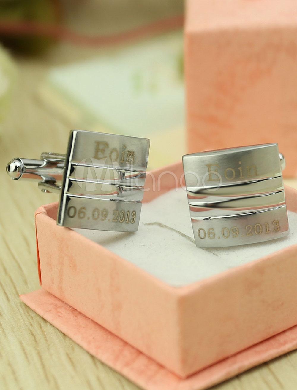 Personalised Wedding Cufflinks Silver Men's Name Date Customized Shirt Cufflinks Gift thumbnail