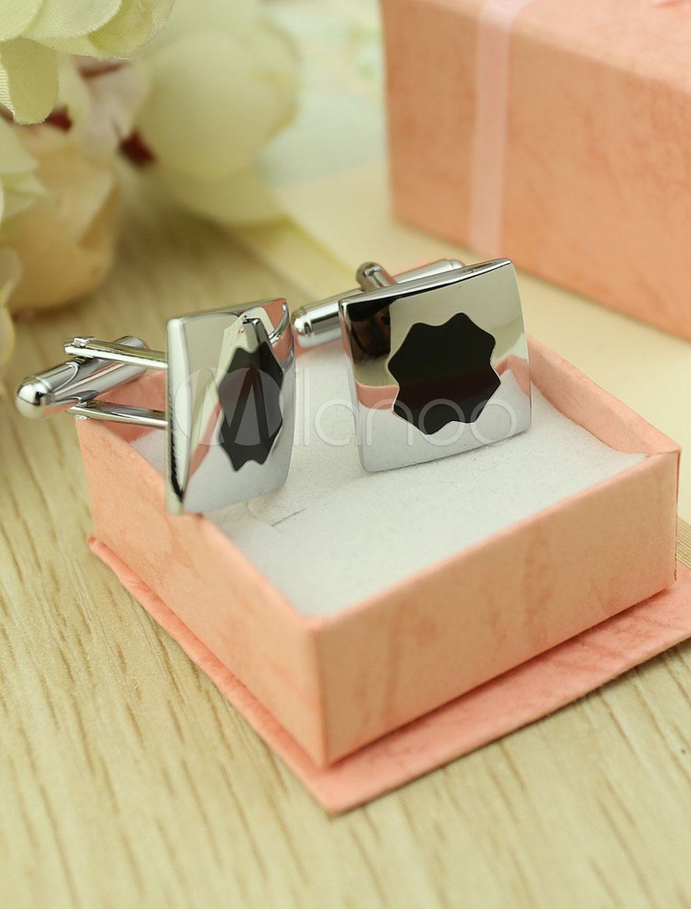 Wedding Men's Cufflinks Silver Black Shirt Cufflinks Gift thumbnail