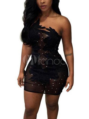 Black Club Dress Sexy Strapless Sleeveless Rhinestones Slim Fit Short Dress (Women\\'s Clothing Club Dresses) photo