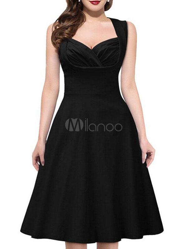 Women Vintage Dress Black Swing Dress Sweetheart Sleeveless Retro Dress (Women\\'s Clothing Vintage Dresses) photo