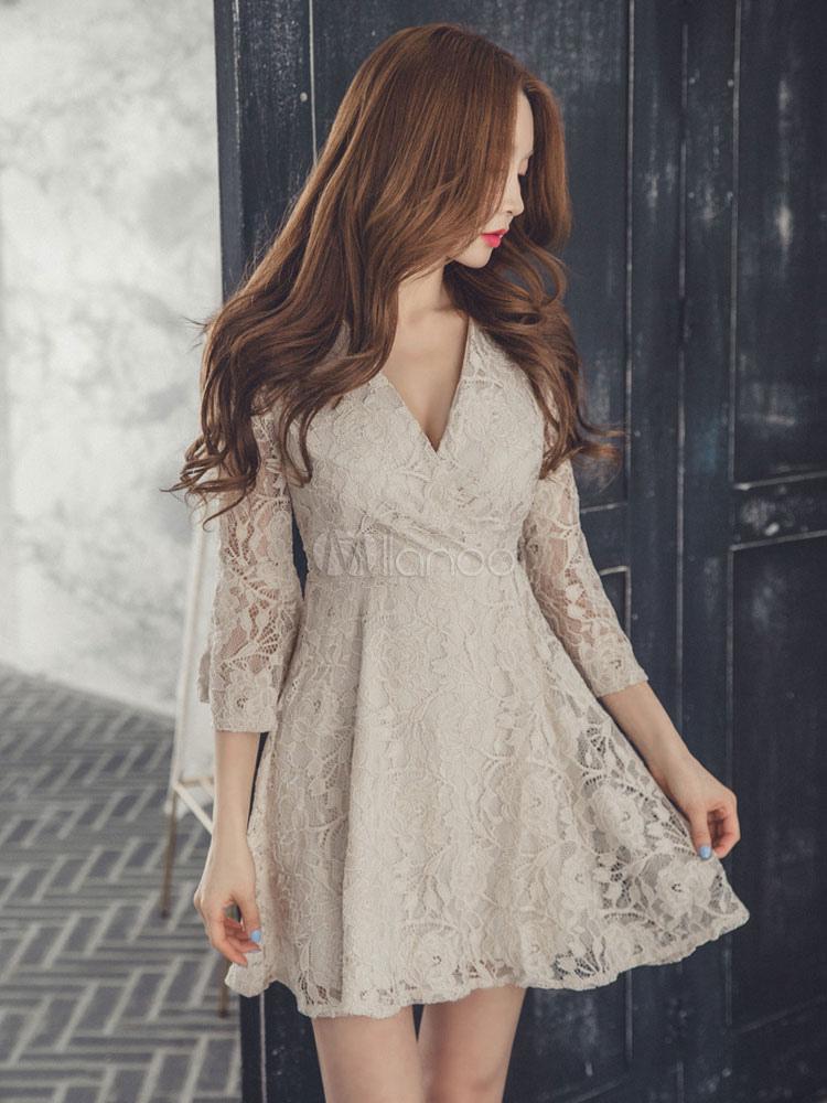 Apricot Lace Dress V Neck Semi Sheer Sleeve A Line Women's Short Dresses (Women\\'s Clothing Lace Dresses) photo