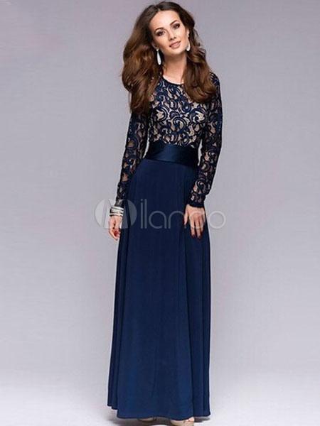 Women Maxi Dress Chiffon Long Sleeve Round Neck Lace Sheer Long Dresses (Women\\'s Clothing Maxi Dresses) photo