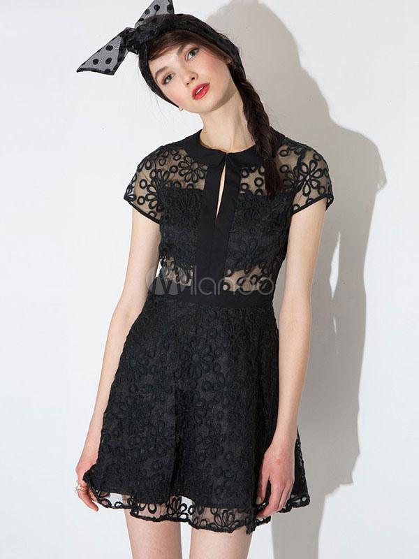 Black Skater Dress Lace Sheer Short Sleeve Women's Short Dresses (Women\\'s Clothing Skater Dresses) photo