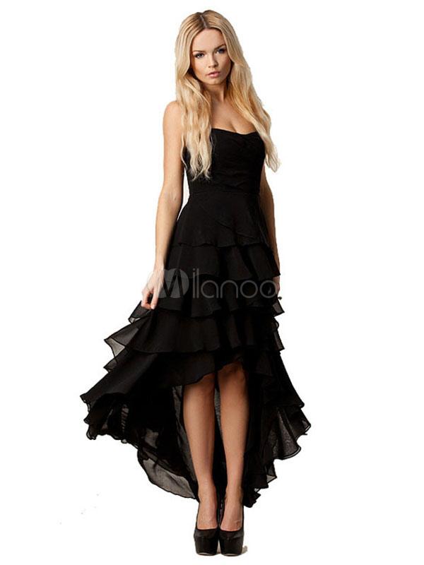Women Maxi Dress Black Strapless High Low Layered Long Dresses (Women\\'s Clothing Maxi Dresses) photo