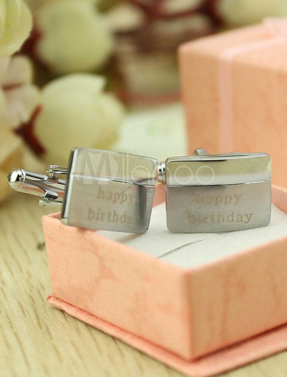 Wedding Personalised Cufflinks Men's Silver Customized Shirt Cufflinks Gift thumbnail