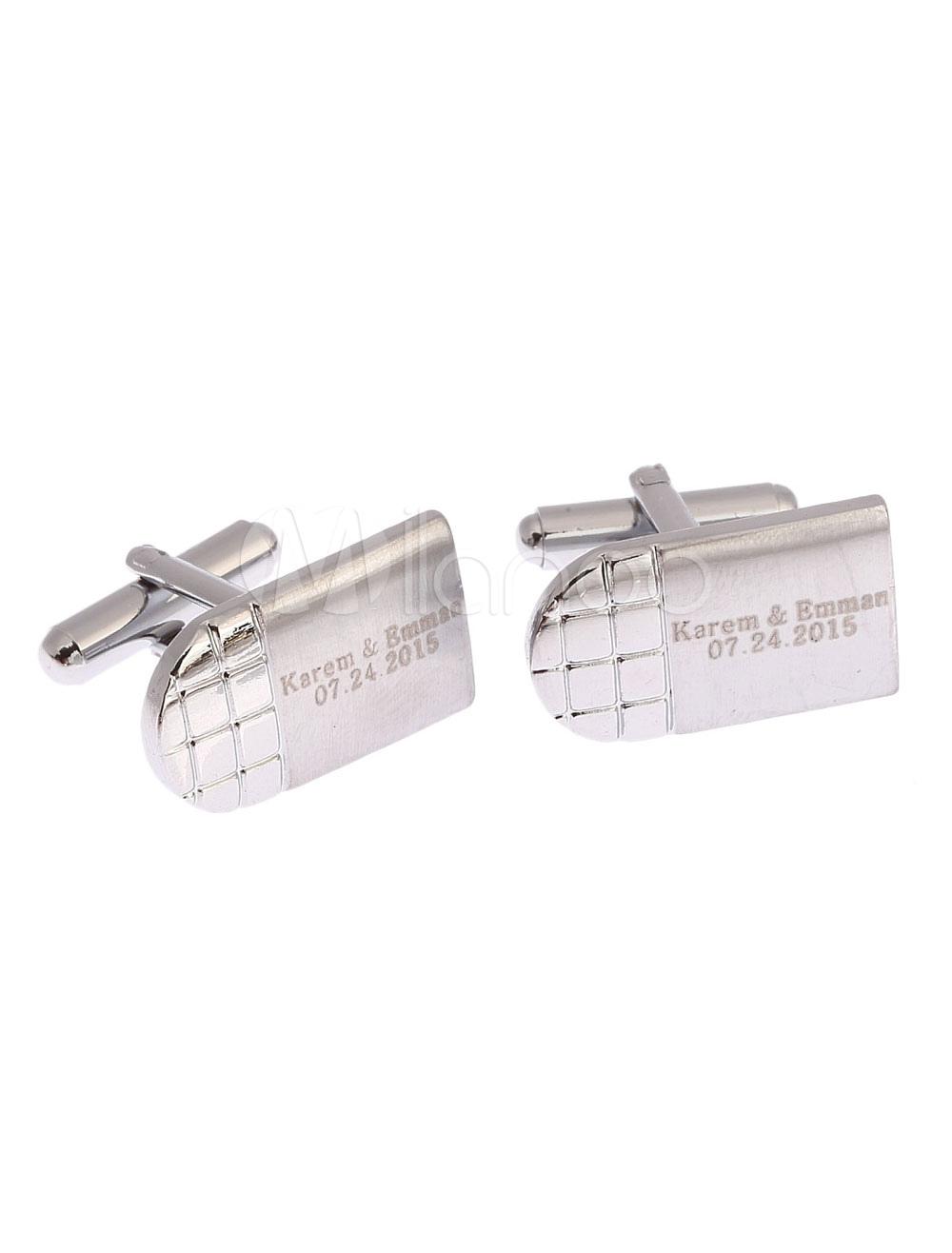 Wedding Personalised Cufflinks Men's Silver Name Date Customized Shirt Cufflinks Gift thumbnail