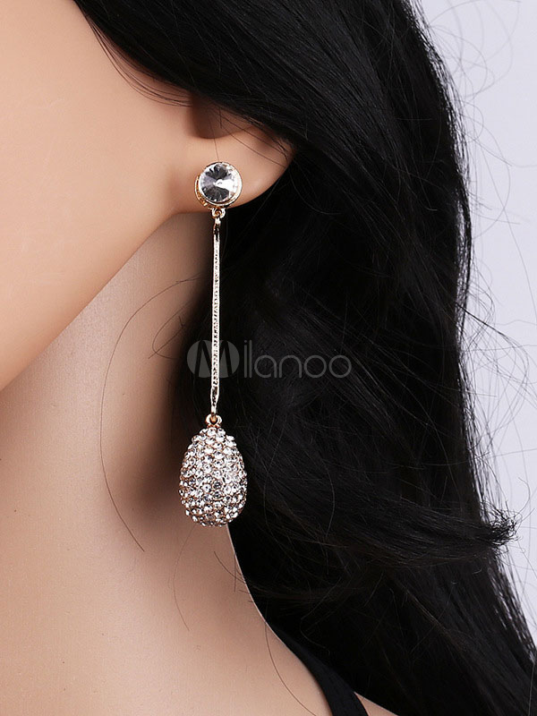 Women's Drop Earrings Rhinestone Beaded Pendant Earrings thumbnail