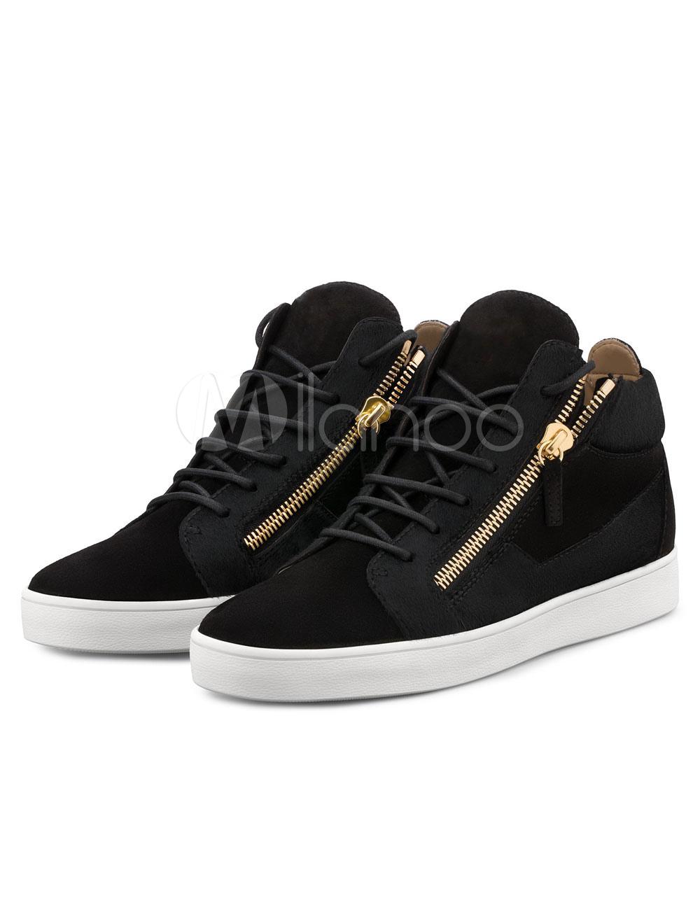Men's Skate Shoes Black Zipper Round Toe Sneakers thumbnail
