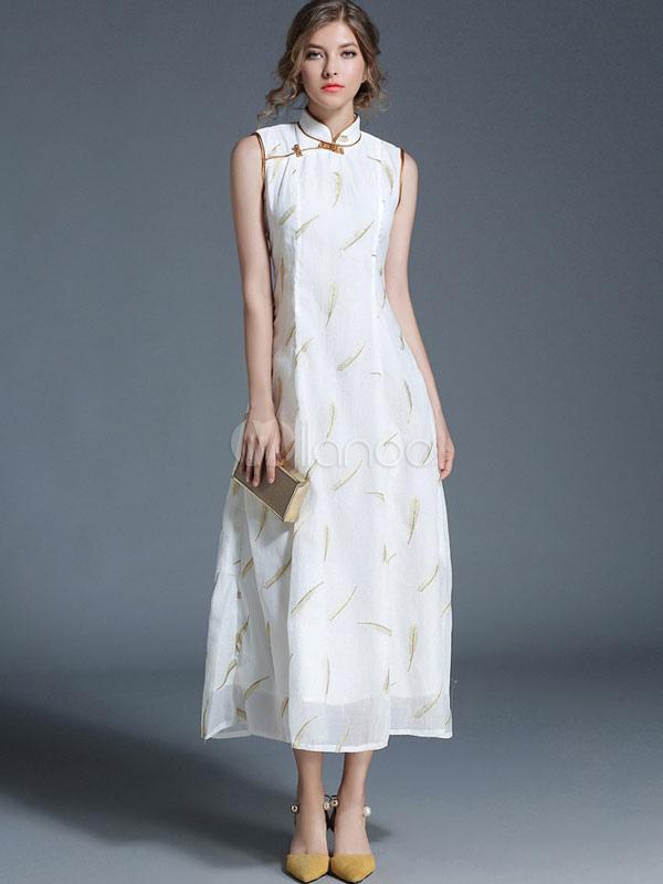 White Maxi Dress Stand Collar Chiffon Sleeveless Floral Print Women's Long Dresses (Women\\'s Clothing Maxi Dresses) photo