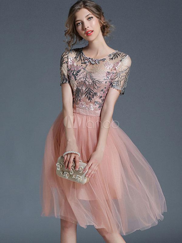 Pink Skater Dress Round Neck Short Sleeve Jacquard Semi Sheer Women's Summer Dresses (Women\\'s Clothing Skater Dresses) photo