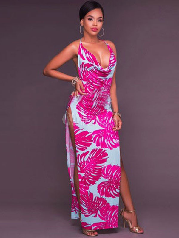 Sexy Maxi Dress Halter Sleeveless Backless Printed Slit Long Dress For Women (Women\\'s Clothing Maxi Dresses) photo