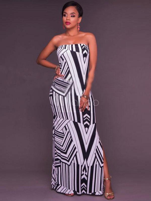 Black Maxi Dress Women's Strapless Sleeveless Printed Slit Long Dress (Women\\'s Clothing Maxi Dresses) photo