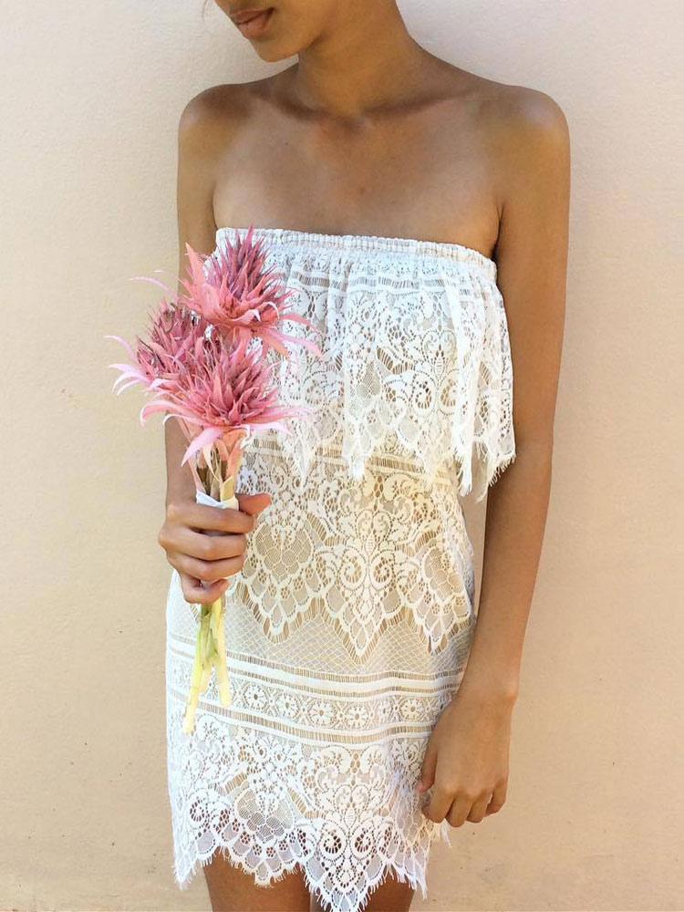 White Lace Dress Strapless Sleeveless Ruffled Women's Summer Dresses (Women\\'s Clothing Lace Dresses) photo