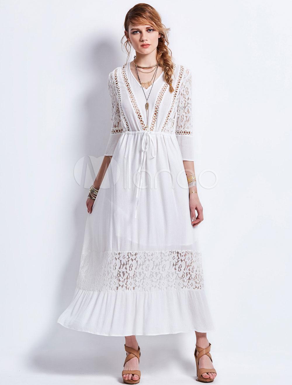 White Maxi Dress Women Long Sleeve V Neck Semi Sheer Summer Dresses (Women\\'s Clothing Maxi Dresses) photo
