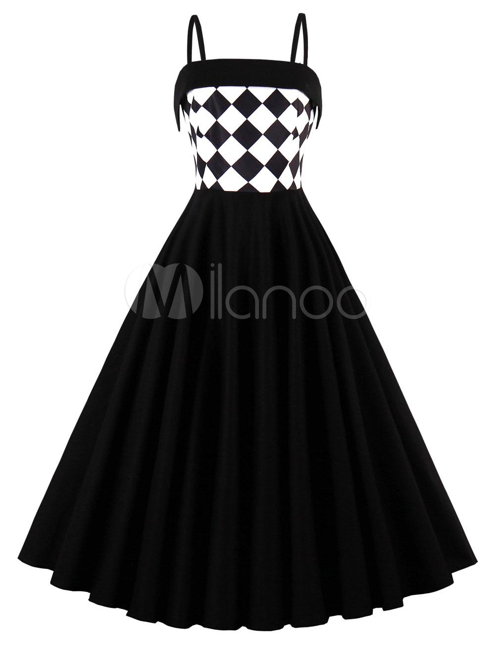 Black Vintage Dress Women Straps Sleeveless Geometric Print Summer Swing Dresses (Women\\'s Clothing Vintage Dresses) photo