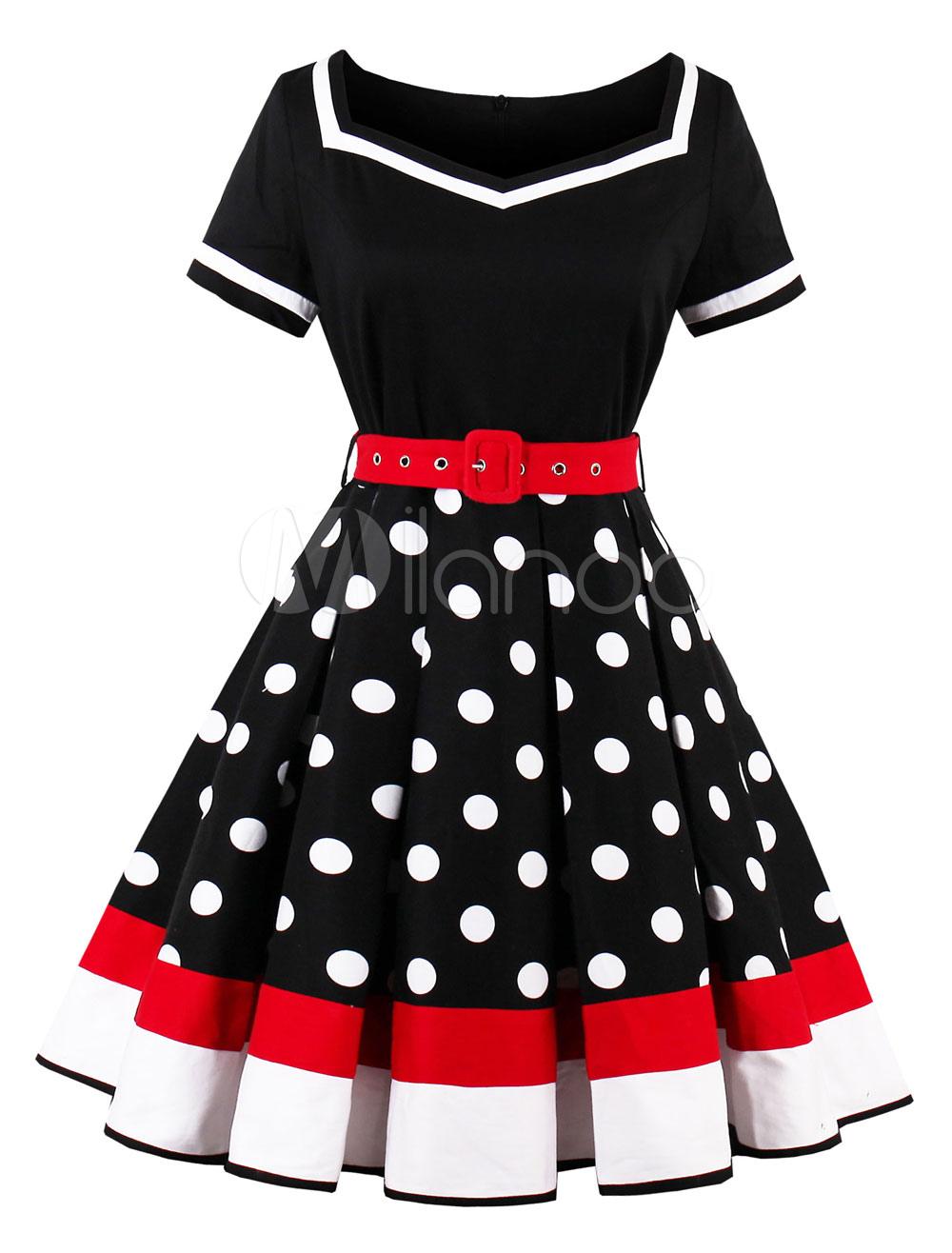 Black Vintage Dress Short Sleeve Polka Dot Print Women Swing Dresses (Women\\'s Clothing Vintage Dresses) photo