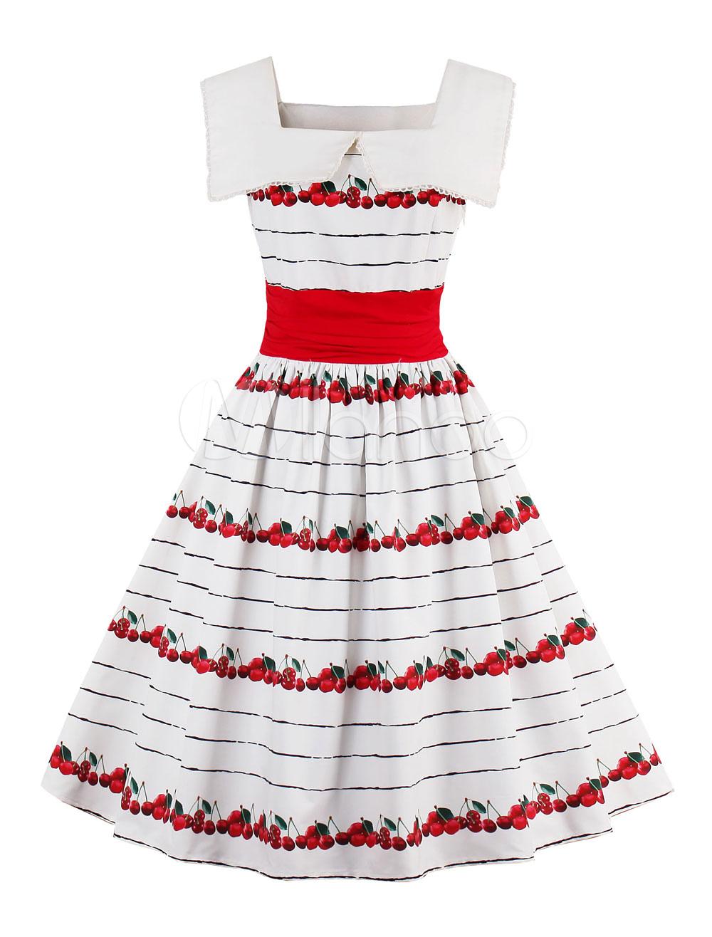 White Vintage Dress Lace Square Neck Sleeveless Fruit Print A Line Women's Short Dresses (Women\\'s Clothing Vintage Dresses) photo