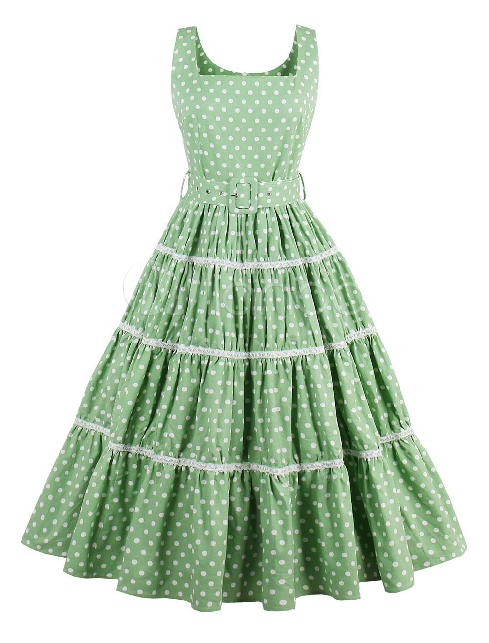 Women Green Dress Vintage Square Neck Sleeveless Polka Dot Print Pleated Skater Dresses (Women\\'s Clothing Vintage Dresses) photo