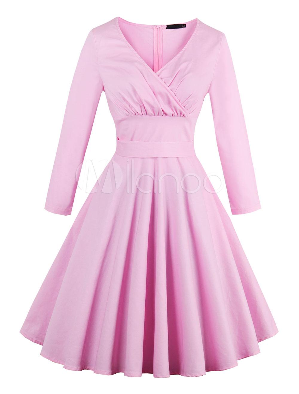 Pink Vintage Dress V Neck 3/4 Length Sleeve Pleated Women's Summer Dresses (Women\\'s Clothing Vintage Dresses) photo