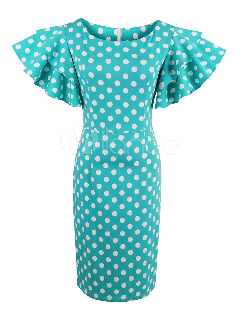 Women's Vintage Dress Polka Dot Round Neck Short Sleeve Ruffles Blue Green Sheath Dress (Women\\'s Clothing Vintage Dresses) photo