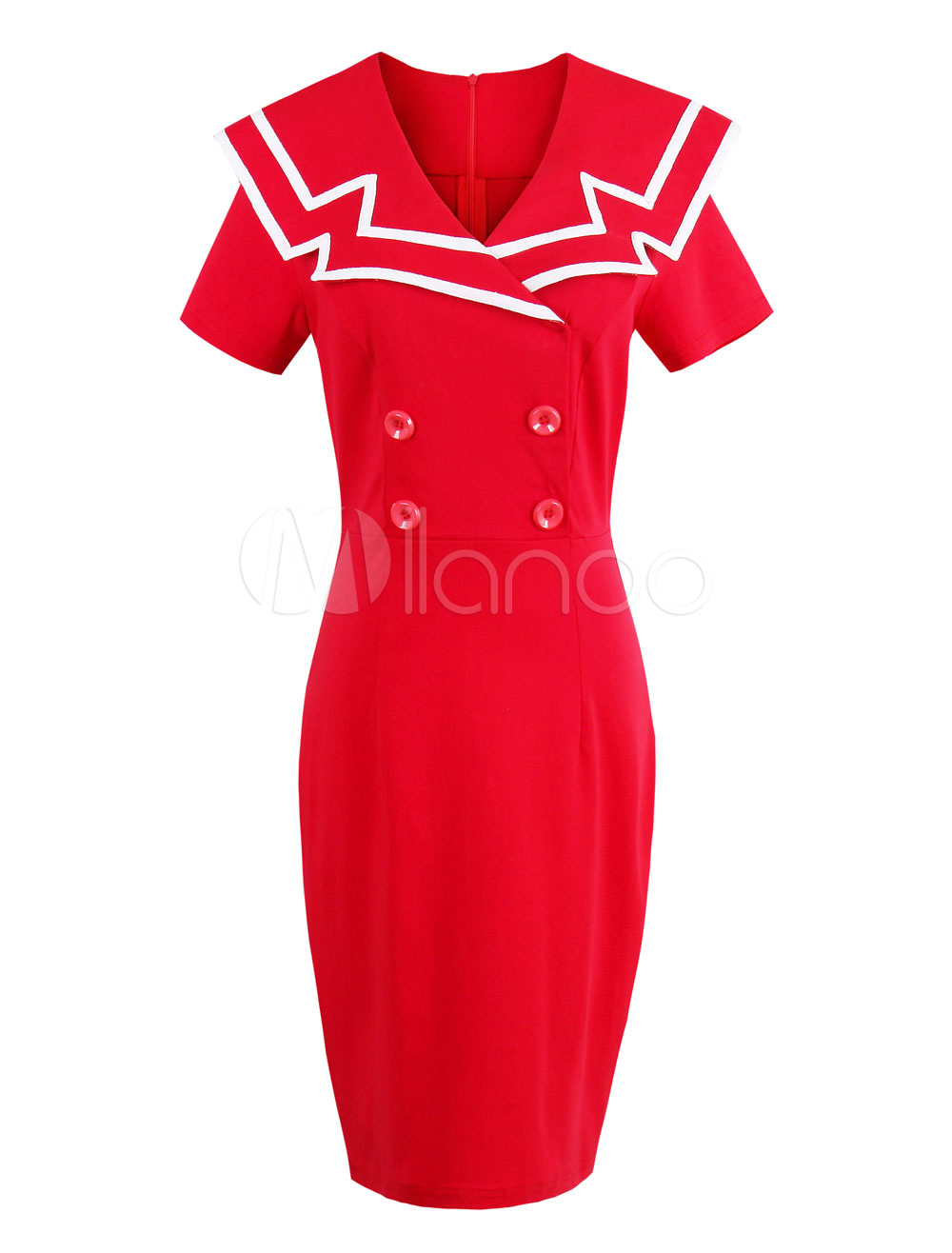 Women Bodycon Dress Red Short Sleeve Double Breasted Vintage Dresses (Women\\'s Clothing) photo