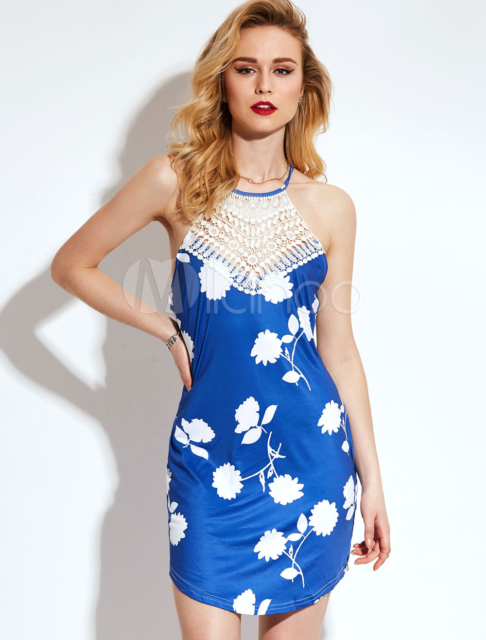 Blue Short Dress Women's Spaghetti Straps Sleeveless Cross Back Mini Dress (Women\\'s Clothing Mini Dresses) photo