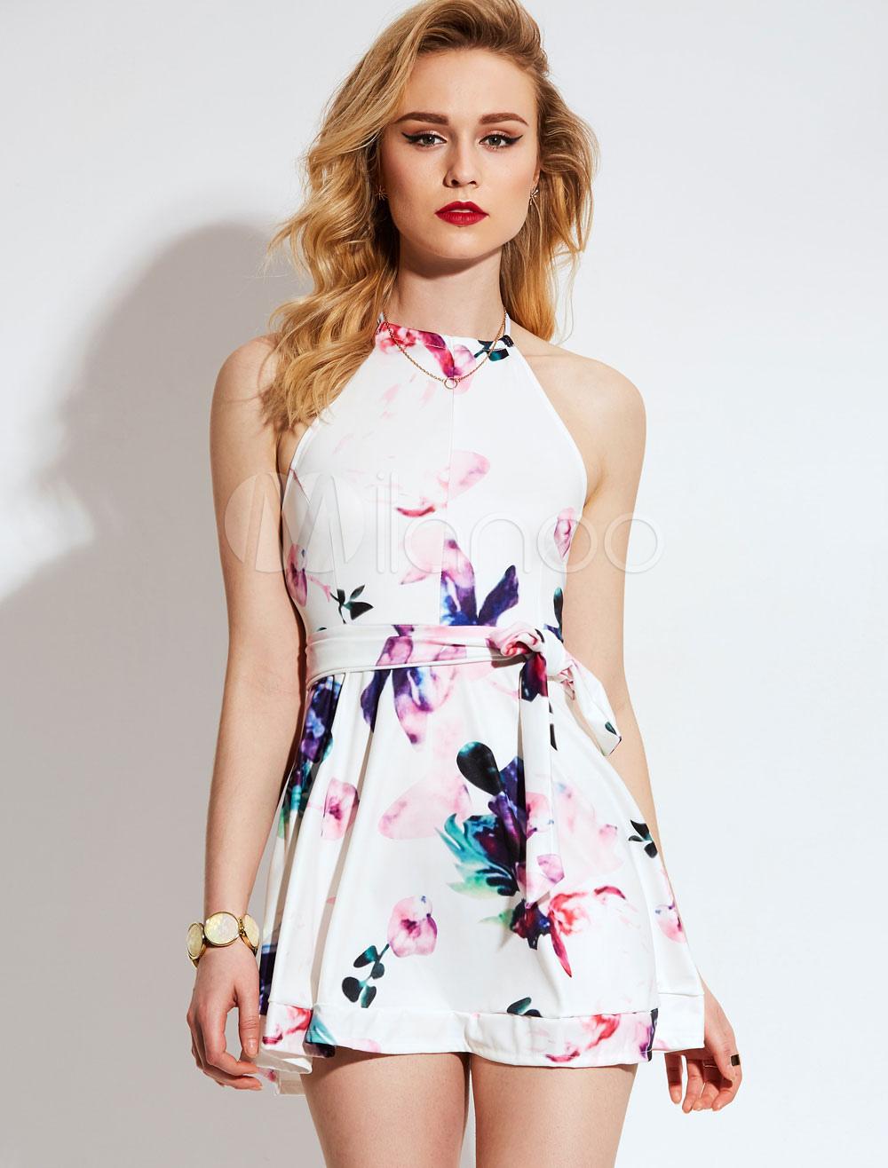 White Skater Dress Halter Sleeveless Floral Print Women's Short Dresses (Women\\'s Clothing Skater Dresses) photo