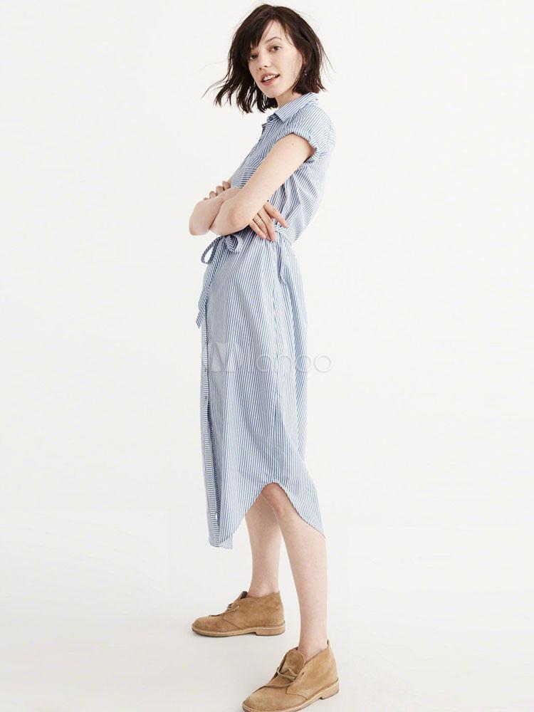 Blue Shirt Dress Turndown Collar Short Sleeve Striped Women's Summer Dresses (Women\\'s Clothing Shirt Dresses) photo