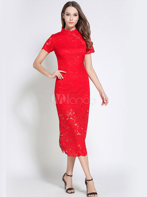 Red Lace Dress Stand Collar Short Sleeve Women's Long Dresses (Women\\'s Clothing Lace Dresses) photo