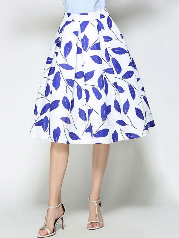 White Skater Skirt Women's Leaf Printed Pleated Flare Skirt For Women thumbnail