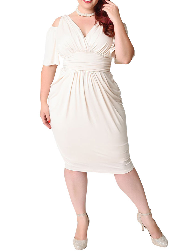 White Bodycon Dress Plus Size Silk Cold Shoulder V Neck Draped Ruched Women's Wrap Dress (Women\\'s Clothing Plus Size Clothing) photo