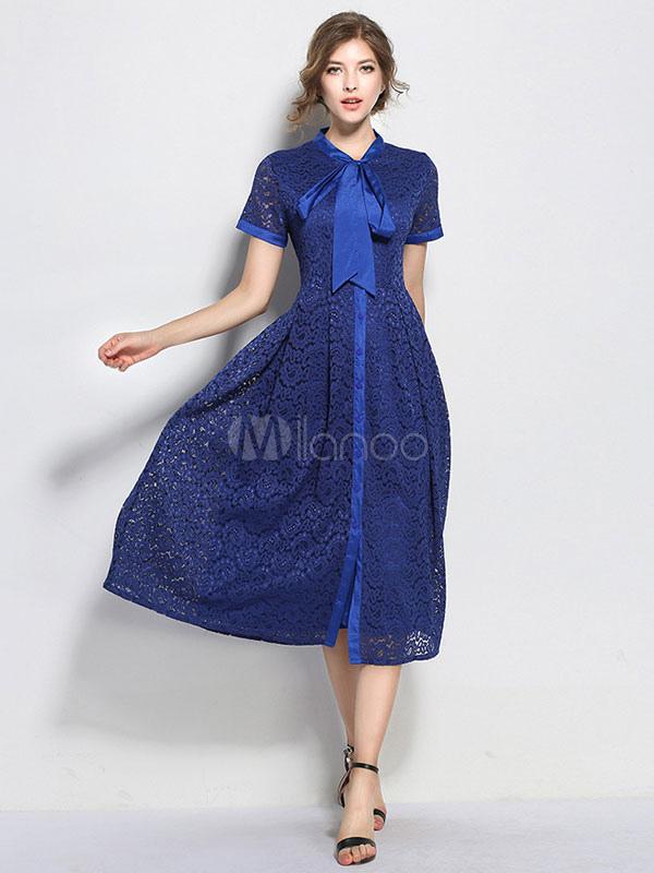 Blue Lace Dress Embellished Collar Short Sleeve Ribbons Women's Midi Dresses (Women\\'s Clothing Lace Dresses) photo