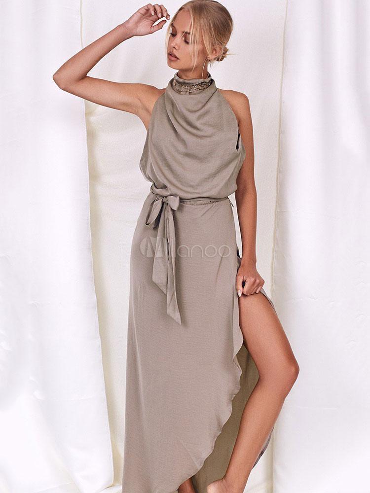 Maxi Dress Women Halter Sleeveless Asymmetrical Draped Backless Khaki Long Dresses (Women\\'s Clothing Maxi Dresses) photo