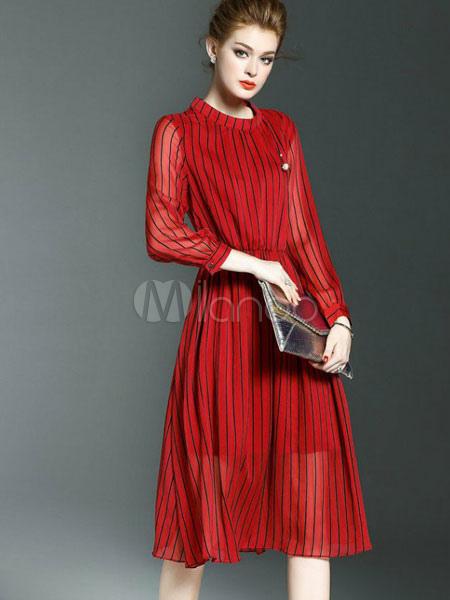 Red Skater Dress Stand Collar Long Sleeve Striped Semi Sheer Pleated Women's Summer Dresses (Women\\'s Clothing Skater Dresses) photo
