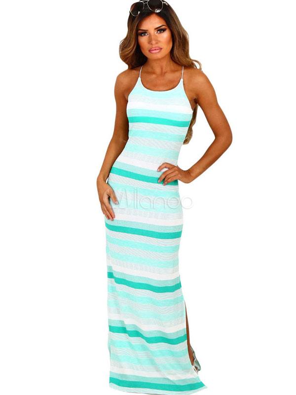 Summer Maxi Dress Light Green Spaghetti Straps Sleeveless Striped Women's Long Dresses (Women\\'s Clothing Maxi Dresses) photo