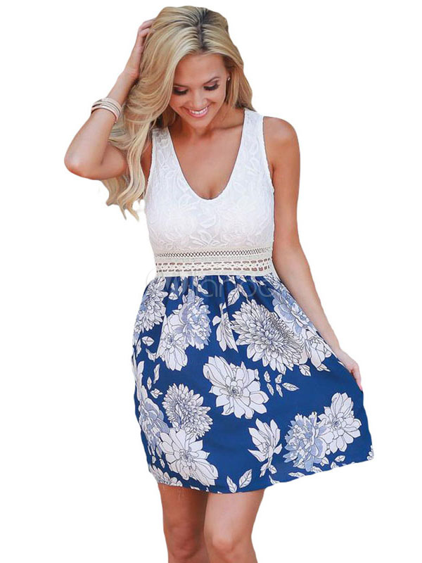 Blue Skater Dress U Neck Sleeveless Floral Print Patchwork Women's Short Dresses (Women\\'s Clothing Skater Dresses) photo