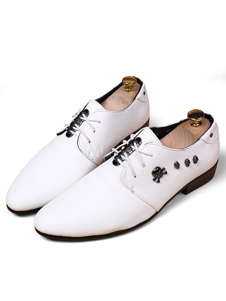 White Dress Shoes Metal Details Pointed Toe Lace Up Men's Formal Shoes thumbnail