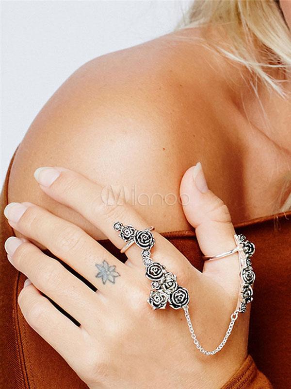Boho Finger Ring Roses Embossed Chain Link Women's Silver Statement Ring thumbnail