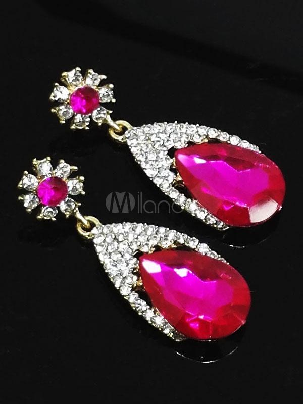 Rose Drop Earrings Wedding Party Rhinestones Beaded Women's Pendant Earrings thumbnail