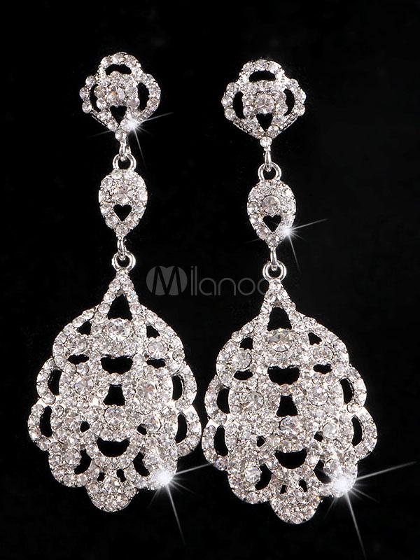 Silver Drop Earrings Wedding Party Rhinestones Hollow Out Women's Pendant Earrings thumbnail