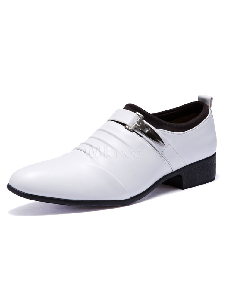 White Dress Shoes Men's Pointed Toe Chunky Heel PU Metal Details Flat Formal Shoes thumbnail