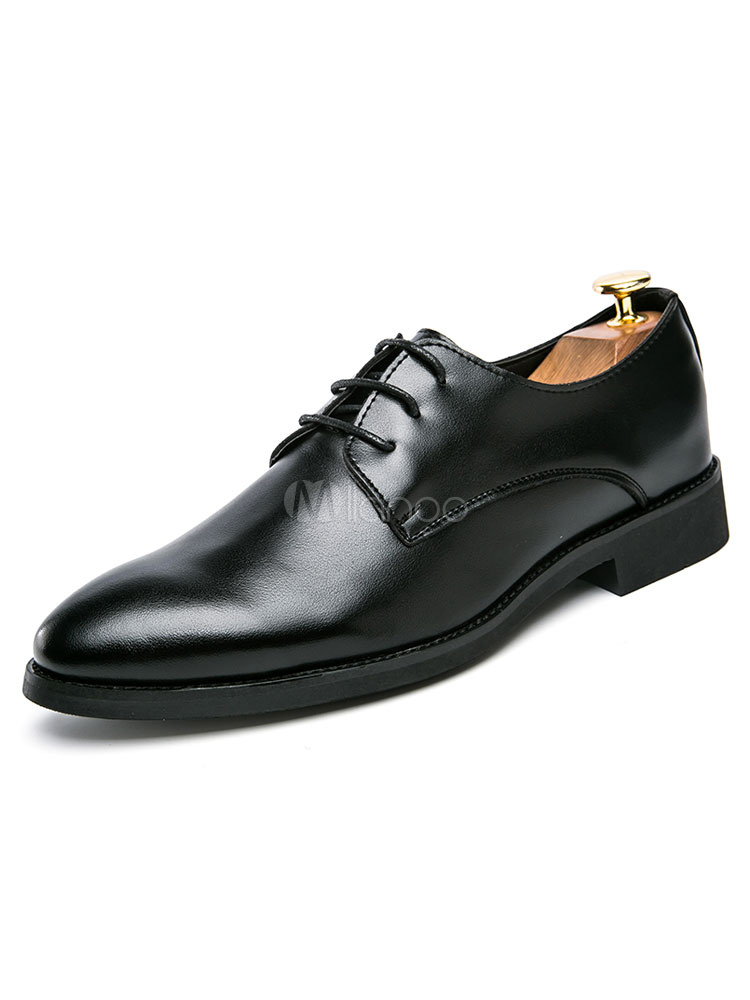 Black Dress Shoes Men's Lace Up Pointed Toe Chunky Heel PU Flat Formal Shoes thumbnail