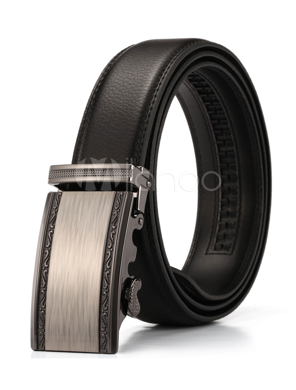 Black Men's Belt Genuine Leather Metal Detail Business Waistband thumbnail