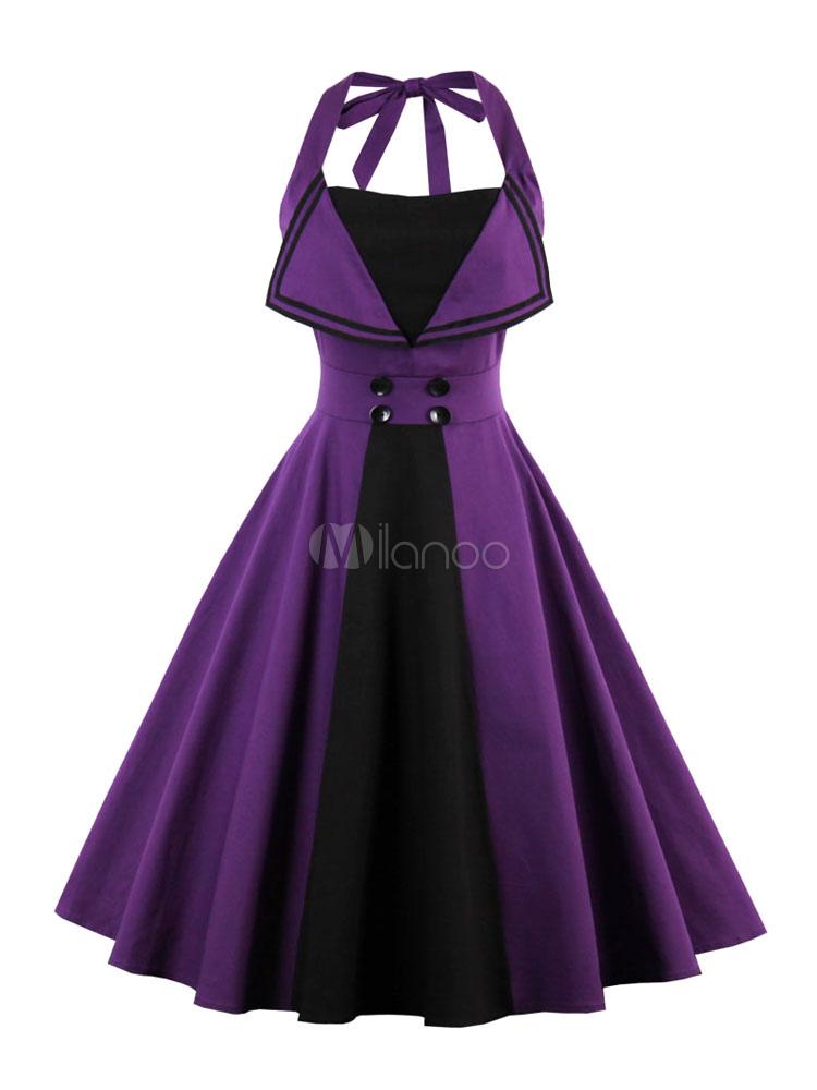 Women Vintage Dress Halter Sleeveless Two Tone Purple A Line Dresses (Women\\'s Clothing Vintage Dresses) photo