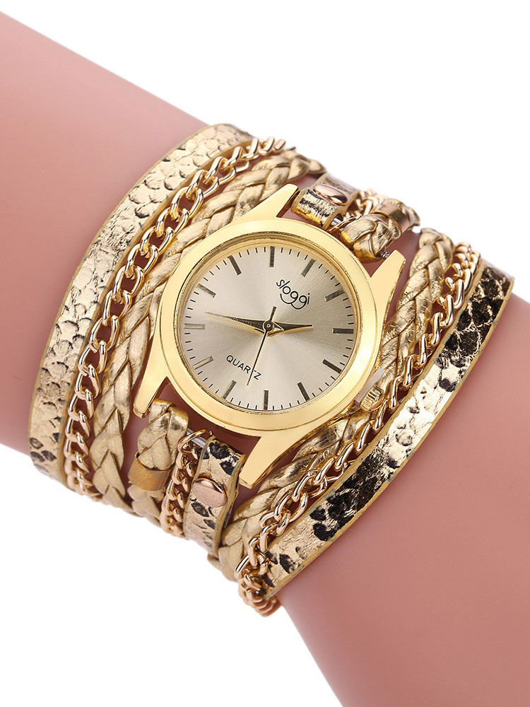 Gold Fashion Watches Round Dial Metal Alloy Band Women's Quartz Analog Wrist Watch thumbnail