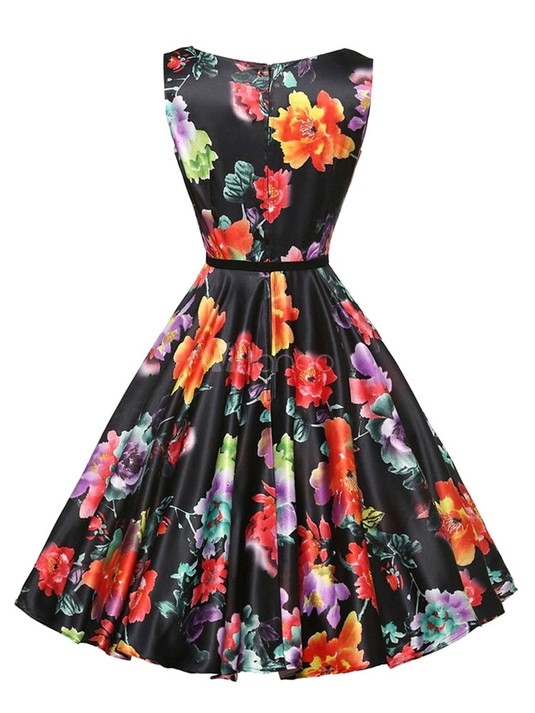 Black Vintage Dress Round Neck Sleeveless Floral Print A Line Women's Dresses (Women\\'s Clothing Vintage Dresses) photo