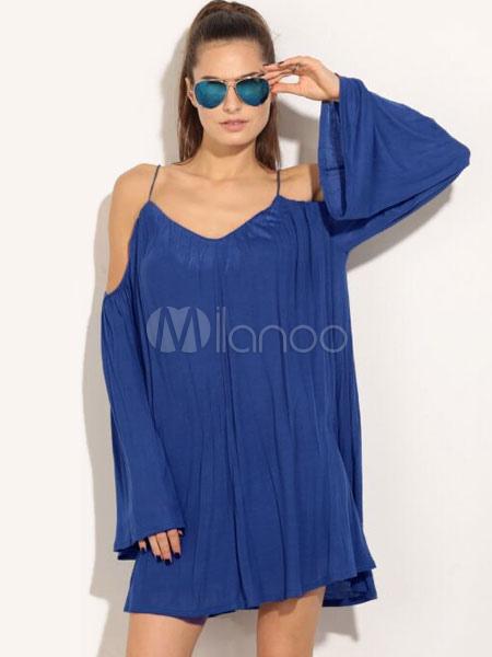 Blue Shift Dress Cold Shoulder Long Sleeve Summer Short Dresses For Women (Women\\'s Clothing Shift Dresses) photo